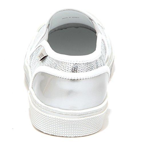 6516p Sneaker Femme Hogan Rebel Slip On Argent / Blanc Chaussure Femme Argent / Blanc