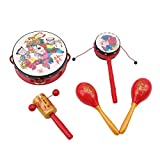 VWH Kinder Musik Spielzeug Red Chinese Festival Rasseln Trommeln Percussion Baby Hände Bell Toy