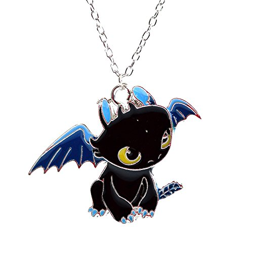 Train Your Dragon Halskette – Toothless Night Fury Anhänger in schwarz Emaille – Cartoon Charakter Halskette für Kinder in Geschenkbox ()