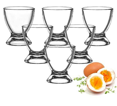 Sendez Huevera de Cristal para Huevos Huevera Cristal Huevera 6-12Piezas, Vidrio, Transparente, 6 Unidades preisvergleich
