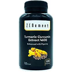 Cúrcuma 4600mg Extracto Certificado, 120 cápsulas, con Pimienta Negra. Potente antioxidante, para la salud de las articulaciones. Máxima concentración. 100% Natural