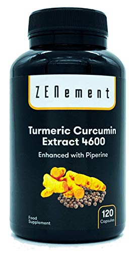 Turmeric 4600mg Certified Extract, 120 capsules, with Black Pepper. Powerful antioxidant, for cardiovascular health and joints. Maximum concentration 100% Natural