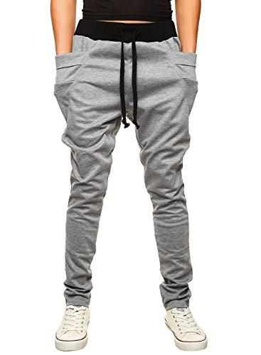HEMOON Pantaloni da Uomo Jogging Tuta sportivo Tacksuit Slim Fit Grigio Medium
