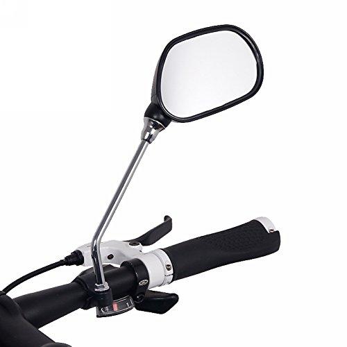 Bike Rückspiegel, 360-Grad drehbar Radfahren Fahrrad Motorrad Rückspiegel, 7,5x11cm breit flexibel Reflektierende Spiegel, 15cm Edelstahl Verbinden Stange, passend für 22.2mm Lenker (1 Packung)