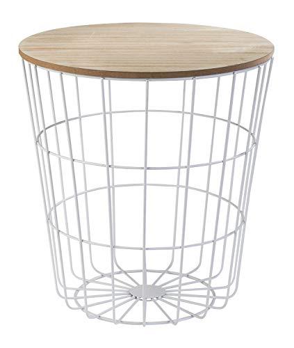 Korbtisch Beistelltisch Wohnzimmertisch   Weiß mit Tischplatte in Holzoptik
