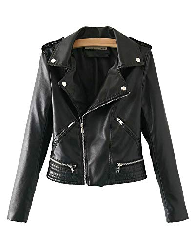 Veste en Cuir PU Perfecto pour Femme avec Col À Revers Manteau Style Motard Noir M
