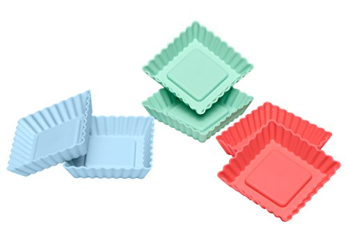 Lurch FlexiForm Tortelett Quader Silikonbackformen, 6er Set, Silikon, Pastel Mix, 8.5 x 8.5 x 2 cm (Mini-tarte-kuchenform)