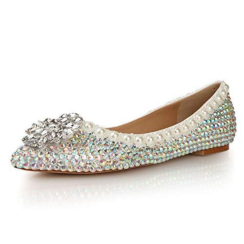 FZHLY Novia Plana Inferior Color Rhinestones Zapatos de Boda Poco Profundas Brillantes Hechos a Mano Rhinestones Princesa Zapatos cómodos Maternidad Zapatos