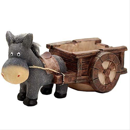 KWOSJYAL 1 Stücke Esel Pull Cart Kleine Skulpturen Harz Handwerk Dekoration Können Kleine Gegenstände Ornament Geschenk Für Zuhause Wohnzimmer -