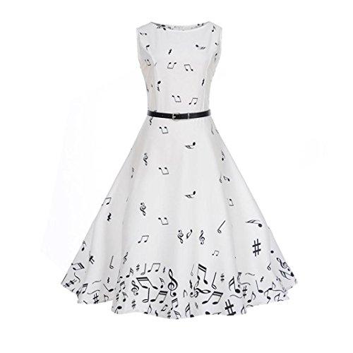 er - 50s Vintage Retro Rockabilly Kleid Sommerkleid Petticoat Kleid Weiß (Medium/DE 38-40, Weiß) ()