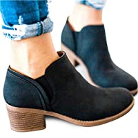 Introut Chelsea Boots Women Faux Leather Ladies Ankle Boots Flat Block Heel 5cm Booties Autumn Winter Shoes Comfortable Casual Black Brown Khaki 3-9 UK