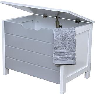 Baúl de almacenamiento, cofre de ropa en madera – Estilo moderno – Color BLANCO y GRIS