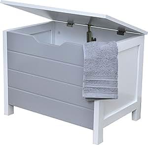 aufbewahrungskiste w schetruhe aus holz moderner stil farbe wei und grau k che. Black Bedroom Furniture Sets. Home Design Ideas
