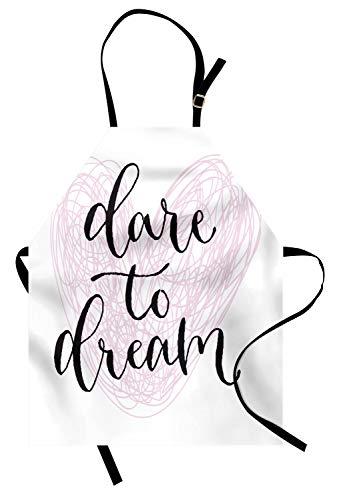 ABAKUHAUS Traum Kochschürze, Herausforderung zum Traum-Zitat mit Hand gezeichnet Herz-Entwurf mit Childish Linie Muster, Höhenverstellbar Maschienenwaschbar Kein verblassen, Baby Pink und ()