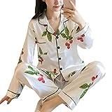 ORANDESIGNE Damen Pyjamas Sets Frühling Herbst Klassische Schlafanzug Satin V-Ausschnitt Zweiteiliges Nachtwäsche Nachthemd Lang Elegant Licht Langarm Shirt und Hosen B Weiß 02 DE 40