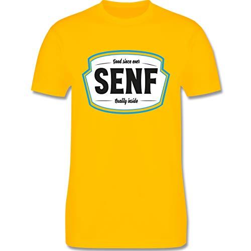 Karneval & Fasching - Senf Kostüm Karneval Fasching - S - Gelb - L190 - Herren T-Shirt ()
