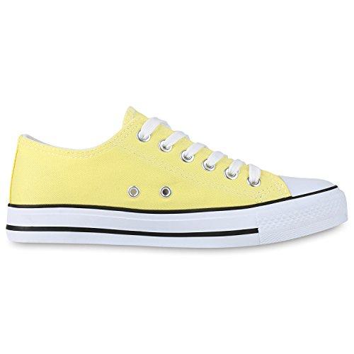Japado Bequeme Unisex Sneakers Low-Cut Modell Basic Freizeit Schuhe Viele Farben Gr. 36-45 Gelb