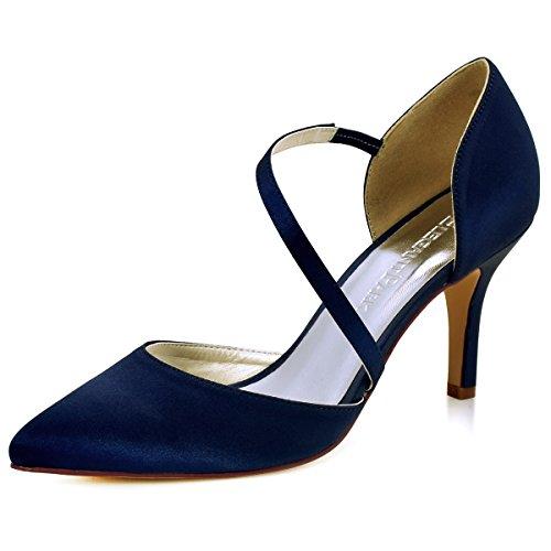 ElegantPark HC1711 Femme Talon Haut Aiguille Bout Pointu Satin Chaussures de Mariee Soiree Bleu Marine 42