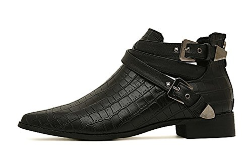 Aisun Damen Modisch Schnallen Schlangenleder Optik Kurzschaft Spitz Chelsea Boots Stiefelette Schwarz
