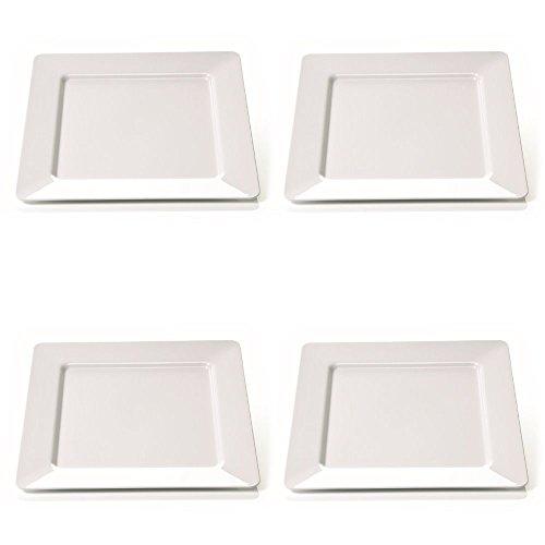 Viva-Haushaltswaren 4 grosse quadratische, flache, Teller aus Melamin - Kunststoff, 25 x 25 cm in weiss