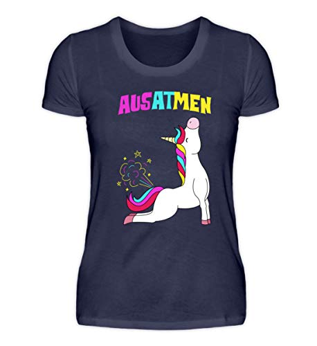 Einatmen Ausatmen Einhorn Yoga Unicorn Einhörner Regenbogen Geschenkidee Lustig Spruch Motiv T-Shirt - Damenshirt (Einfache Lustige College Kostüm)