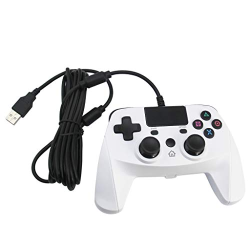 Gamepad für PC Controller Android TV Box Tablet Bluetooth-Gaming-Controller Wireless Bluetooth Controller Griff Gaming Pad Joystick für PS4 / PS3 / PC,Plug & Play Competition Gaming (White)