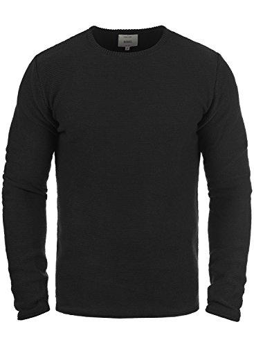 Redefined Rebel Mace Herren Strickpullover Feinstrick Pullover mit Rundhals aus 100% Baumwolle, Größe:M, Farbe:Black
