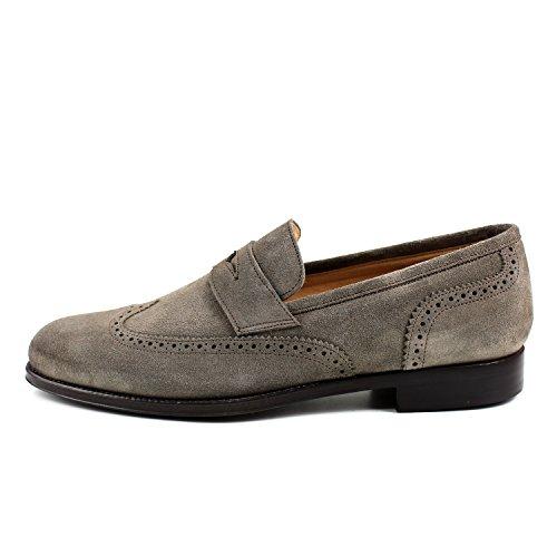 GIORGIO REA Chaussures Homme Gris Mocassins Mâle Main Italiennes, Cuir, Élégant, Classique, Oxford Classic Shoes