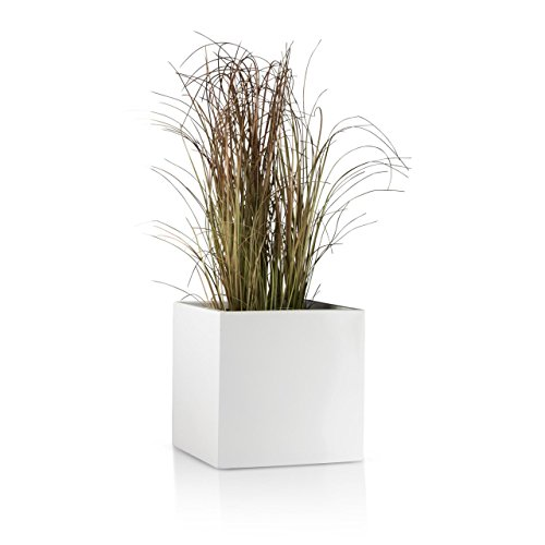 Pflanzkübel CUBO Fiberglas Pflanztopf - Farbe: weiß matt - robuster, UV-beständiger, wetterfester & frostsicherer Blumentopf für den Garten Blumenkübel