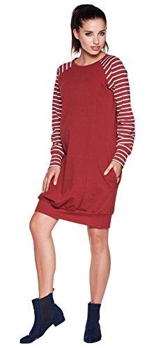 Be! Mama - 2in1 Umstandskleid, Stillkleid, Tunika. Modell: SPORTISSIMA, bordeaux/Streifen, XL