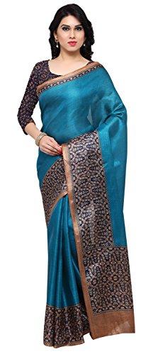 Rajnandini Women's Blue Tussar Silk Kalamkari Printed Saree