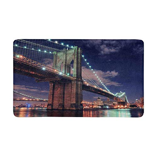 LIS HOME Brooklyn-Brücke über East River nachts in New York City Manhattan-Fußmatte-Rutschfester Eingangs-Mat Floor Rug-Innentür-Matten-Ausgangsdekor, Gummirücken (Party City In Manhattan, New York)