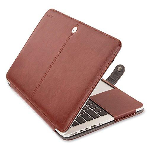 ibel MacBook Pro 13 Retina (NO CD-ROM Drive), Premium PU Leder Hülle Cover Kompatibel MacBook Pro 13 Zoll mit Retina Display (A1502/A1425, Version 2015/2014/2013/Ende 2012), Braun ()