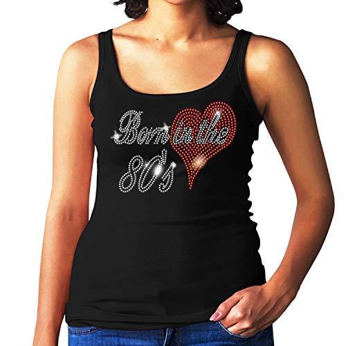 Ladies Born in The Eighties Rhinestone Black Vest Top, Sizes 8 to 16