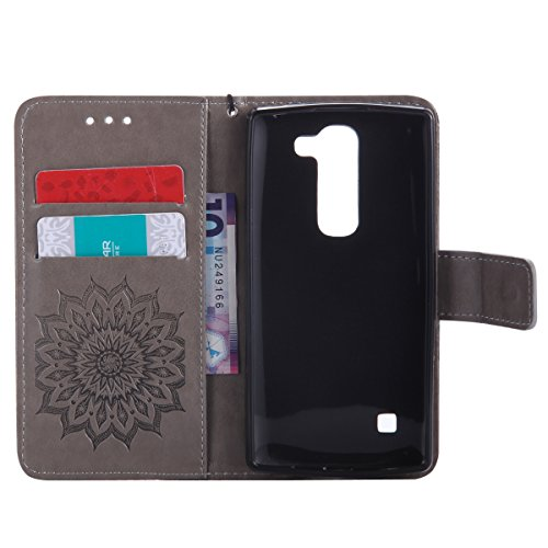 Coque Cuir Etui Pour LG Spirit 4G LTE,LG Spirit C70 Portable Coque Housse,Ekakashop Jolie Pourpre Tournesol Painting Bookstyle Rabat Shell Silicone Etui Flip Cover Smart Case Housse de Protection Port Gris