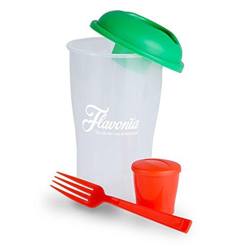 Dressing Halter (Salat to go Shaker mit Dressing Behälter. Salatbecher mit Dressingbehälter. BPA frei, inklusive Gabel mit einer Größe von 700ml für unterwegs. Aufbewahrungsbox für Spülmaschine geeignet)