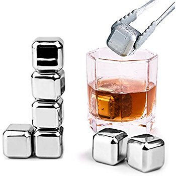 Awestuffs Stainless Steel Ice Cubes Glacier Cooler Whiskey Stones (Silver) - Pack of 2
