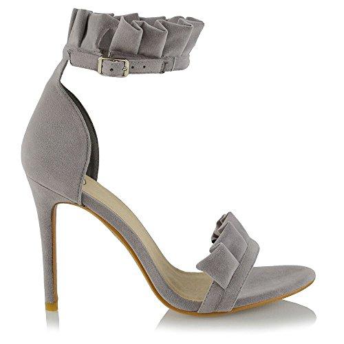ESSEX GLAM Donna Formale Increspatura Cinturino alla Caviglia Sandalo Le Signore Finto Scamosciato Tacco Alto Peep Toe Festa Scarpe Grigio Finto Scamosciato