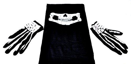 Totenkopf Halstuch + Handschuhe Skull Snowboard Ski Tuch by schenkfix (Halloween-kostüme Zum Verkauf)