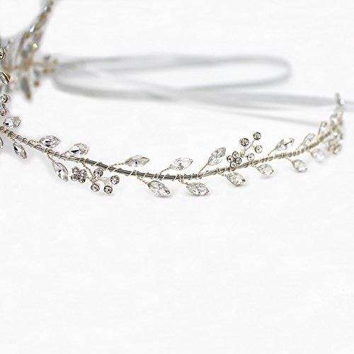 Tiara de diosa de plata y cristal, accesorio de cabello para novia, corona con lazo