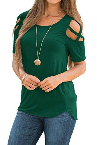 NICIAS Damen Sommer Kurzarm T-Shirt Oberteil Schmales Strappy Cold Shoulder Rundhal Hemd Lässige Tunika Bluse Shirt (Grün, X-Large) -