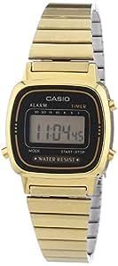Casio - Vintage - LA670WEGA-1EF - Montre Femme - Quartz Digital - Cadran Noir - Bracelet Acier Doré