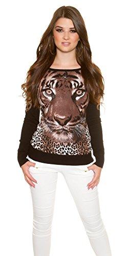 Pullover mit Tigerdruck und Strass Braun