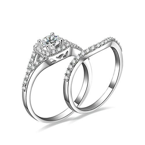 (Custom Ringe)Adisaer Ring Silber 925 Damen Platz Vier Klaue Kristall CZ Zwei-Ringe Set Verlobungsring Größe 58 (18.5) Kostenlos (Pharao Hund Kostüm)