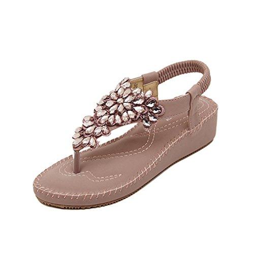 Damen Sommer Bohemia Schuhe Strass Flach Flip-Flop Mädchen Bequeme Strand Zehentrenner Sandalen Violett