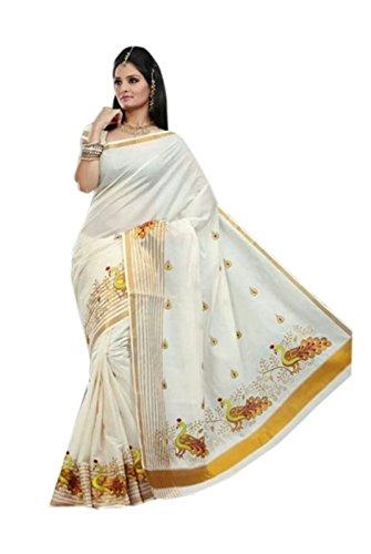 selvamani tex cotton kerala kasavu zari saree with running blouse (Lemon)