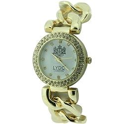 Lydc Women'Quarz-Uhr mit weißem Zifferblatt Analog-Anzeige und-goldenes Armband LYDC47/A
