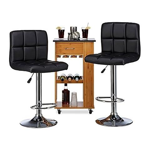 Relaxdays Tabouret de bar BENNY dossier, hauteur réglable, similicuir lot de 2 chaises de bar noir HxlxP 116 x 45 x 45 cm, noir
