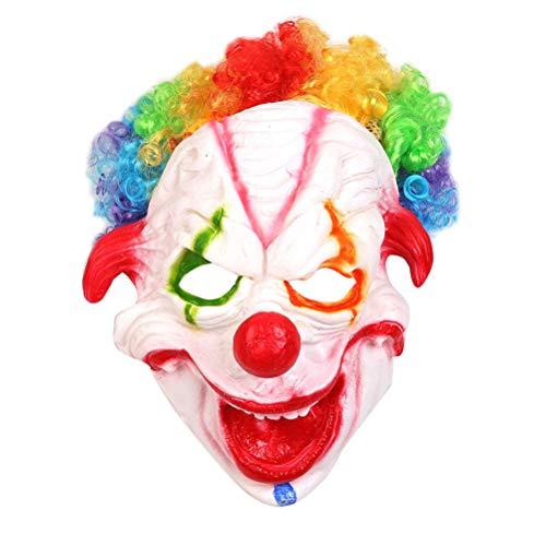 Amosfun Clown Maske Lustige Gesichtsmaske Halloween Cosplay Kostüm Prop Horrific Performance Party Zubehör (Wirklich Masken Clown Beängstigend)