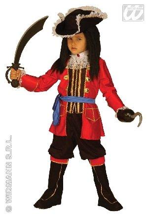 Captain Kostüm Hook - Widmann wdm33497-Piratenkostüm für Kinder (140cm/8-10Jahre), rot, Größe XS.